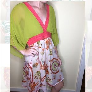 Altar'd States flowy dress in dark lime and floral